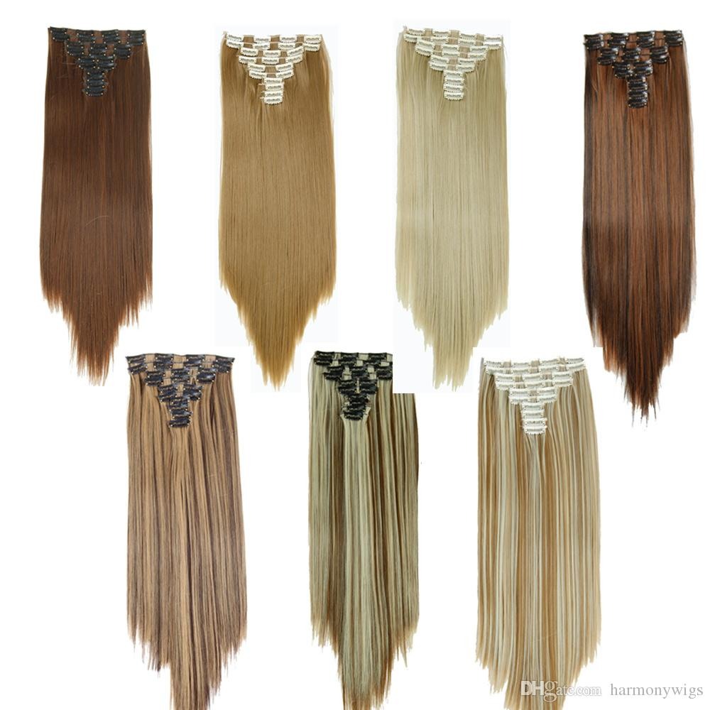 Clip In Hair Extensions Synthetic Straight Hair Pieces 25inch 160g