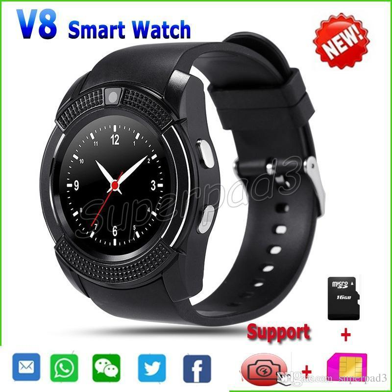 wholesale dealer 45805 75cd8 Smart Watch V8 For iPhone 7 Galaxy Note 7 iOS Android Phone Watch With SIM  TF Card Slot Camera Bluetooth Watch PK DZ09