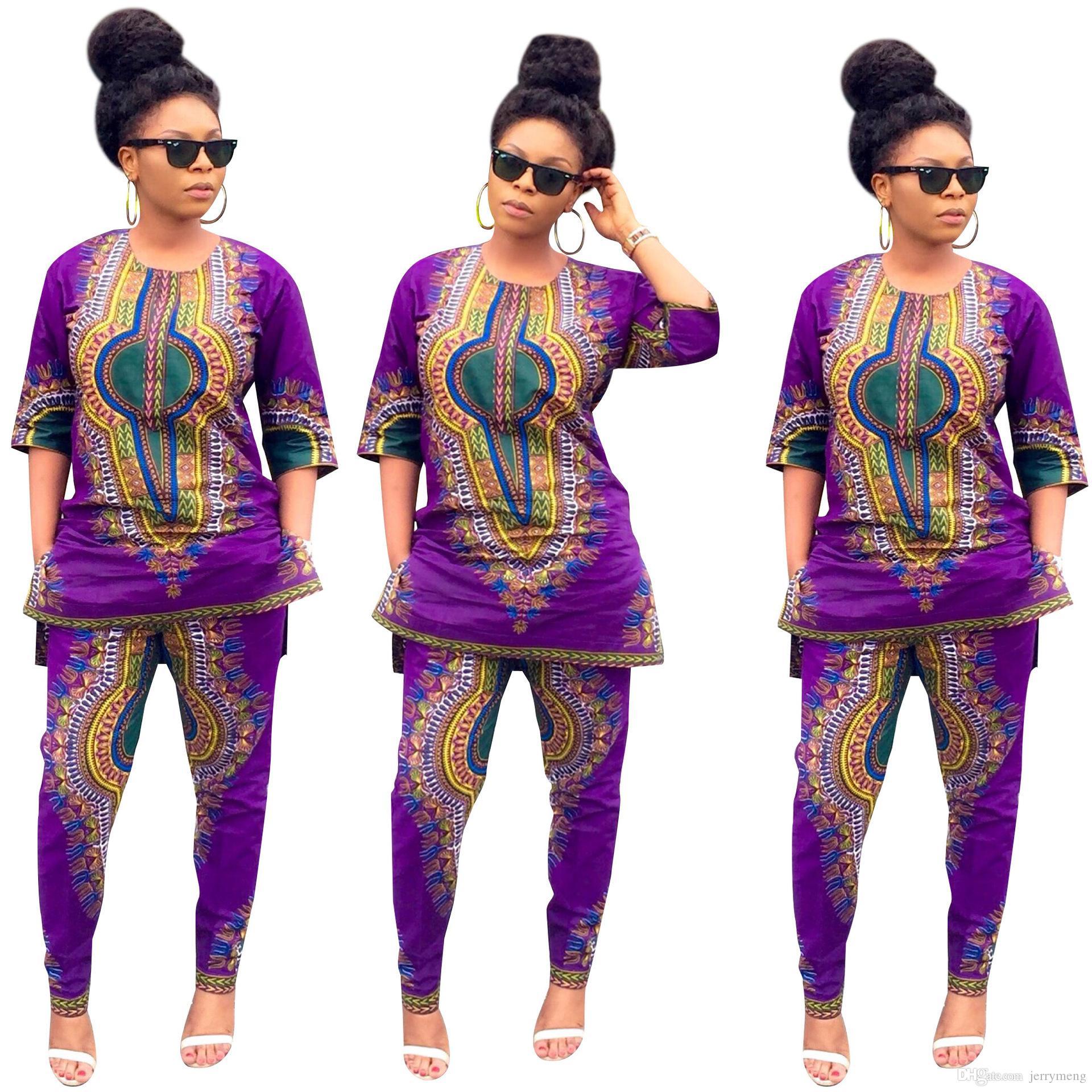 06e783ef2d5c28 Femmes Africaine Dashiki Imprimer Stretch Pantalon Blouse Moitié Manches  Tops Pantalon Costume 2 Pièce Ensemble Élégant Respirant Confortable ...