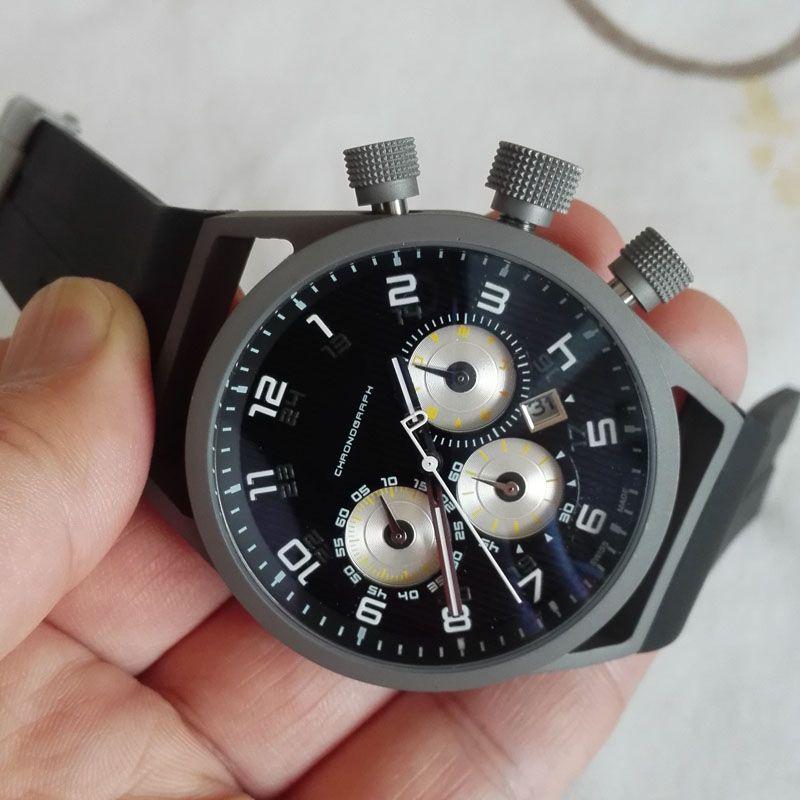 48mm Big size watches men new fashion man clock luxury design rubber strap sports chronograph watches quartz super gift for men