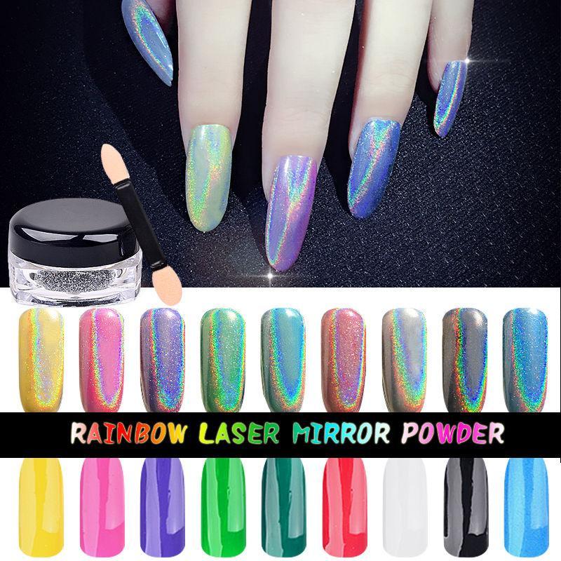 Compre Efecto Holográfico Nail Art Powder Holo Rainbow Sirena Trend ...