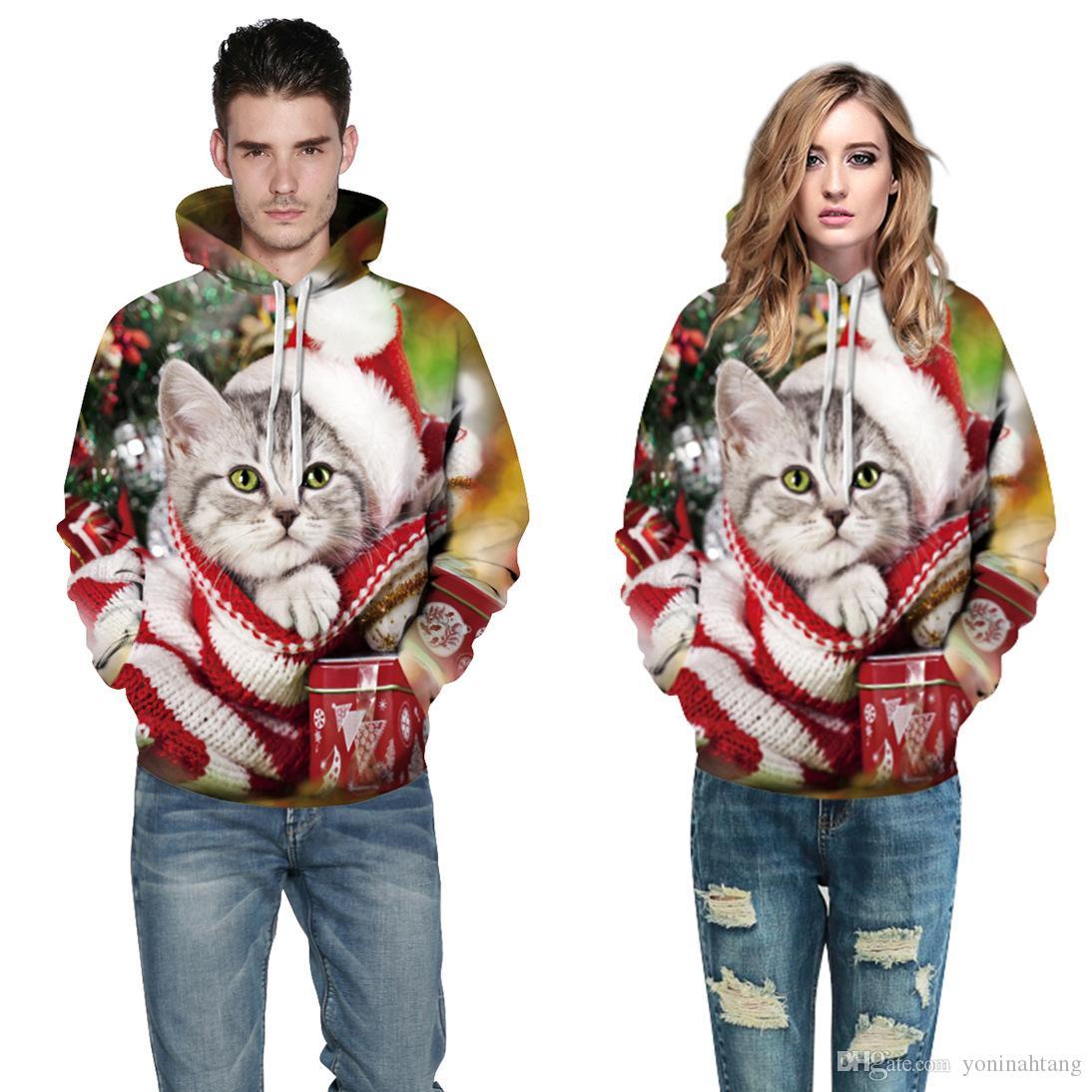 Las mujeres de la Navidad Sudadera con Gatos Cortados Impreso Con Capucha 2017 Hombres Parejas Otoño Sudadera con capucha de Gran Tamaño Animal Con Capucha Regalo S-3XL