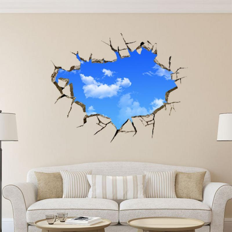 Removable Wall Art 2016 hot sale new art creative sticker sky clouds holes removable