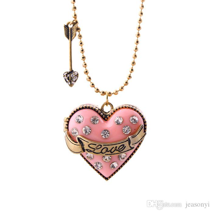 Love Pave Heart Locket Necklace and Crystal Arrowhead Pendant Necklaces with Gold Ball Chain Special Gift In Heart Box Popular