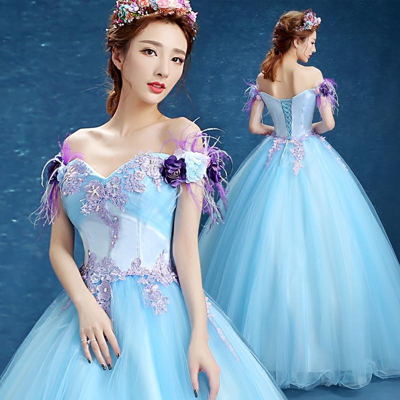 3a9a1703eb light blue flower feather slash collar gown Medieval dress Renaissance gown  Sissi princess dress Victorian /Marie Belle Ball