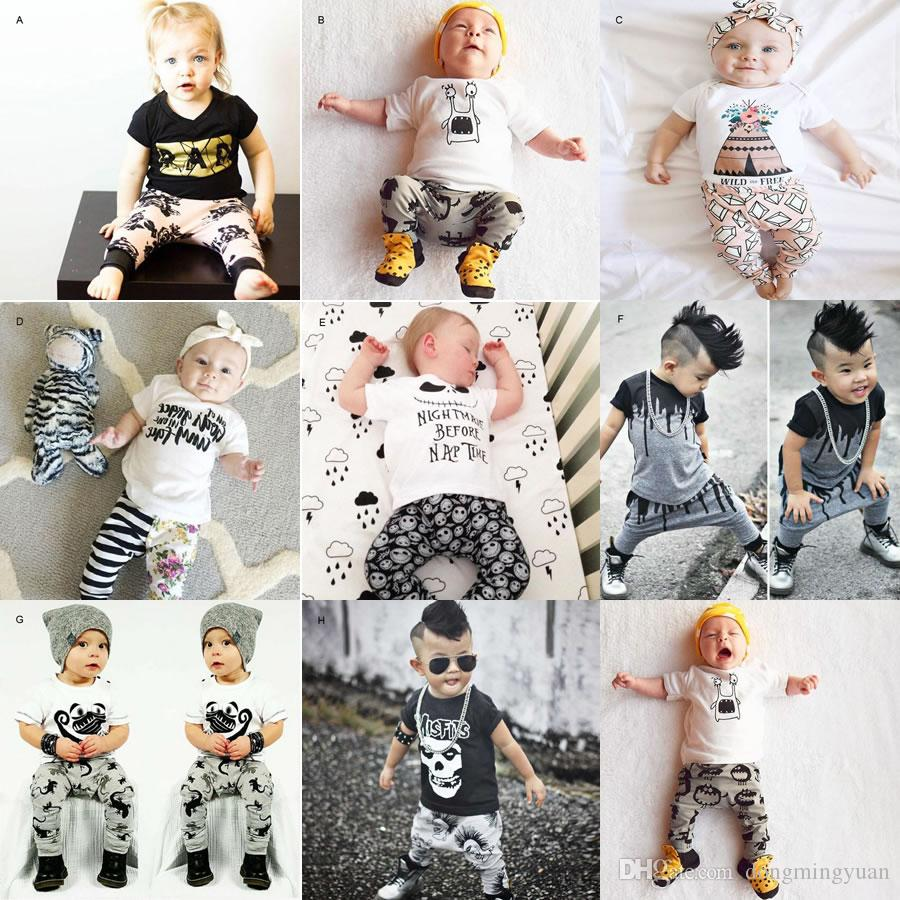 2019 1st Birthday Outfits For Baby Boy Girl Set Clothing Christmas Halloween Infant Newborn Skull T Shirt Top Trouser Suit Toddler Tracksuit From