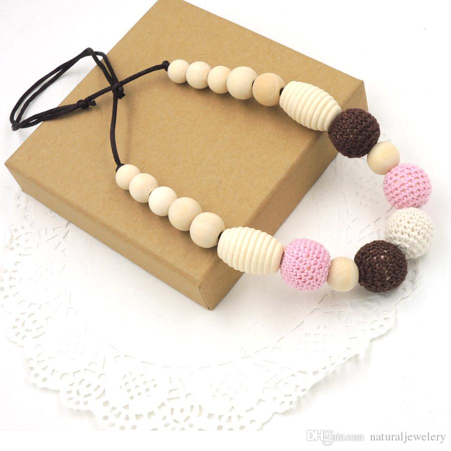 SALE Pink and chocolate color crochet beads teething necklace, screw thread wood beads baby teether necklace STATEMENT EN49
