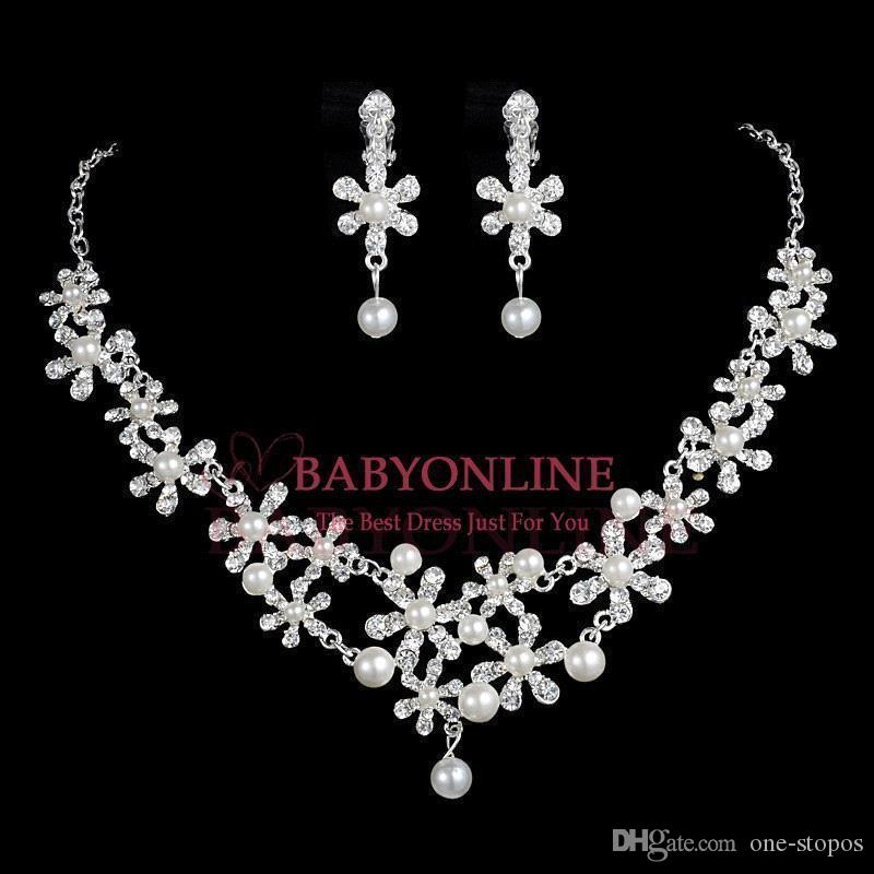 Cheap Twinkle Plated Crystal Wedding Bridal Jewelry Sets