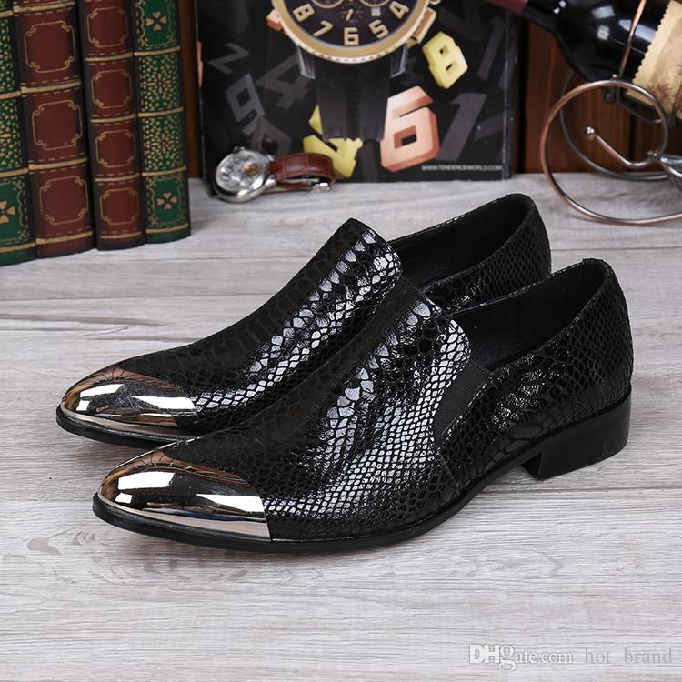 Custom Made Wedding Groom Shoes Men Hot Sale Black Snakeskin Leather Dress Shoes Prom Party Flats Shoes 2017 Big Size 46
