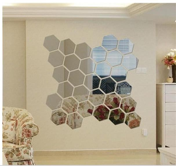 Acrylic Wall Mirror hexagon mirror green acrylic wall stick a crystalline solid