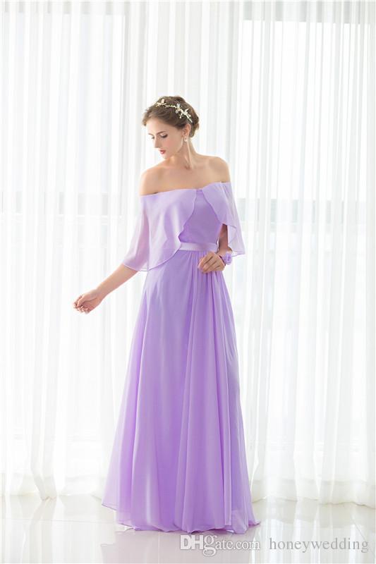 Elegant Light Purple Bridesmaid Dresses Long Under 50 Off Shoulder Draped Chiffon Wedding Guest Dress In Stock Cheap Bridesmaids Dress