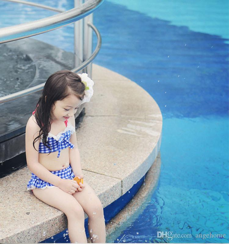 2016 Childs Bikini Straps Plaid Printed Beach Clothing Set With Hat Beach Clothes with cap Kids hot springs swimsuit Bathing Suits