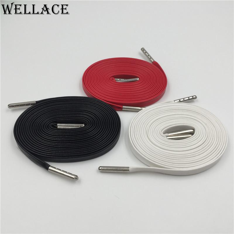 Wellace Unisex Genuine Flat Sheepskin Leather Shoelaces Luxury Goatskin shoe laces With Silver Agelts For Sneakers 140cm