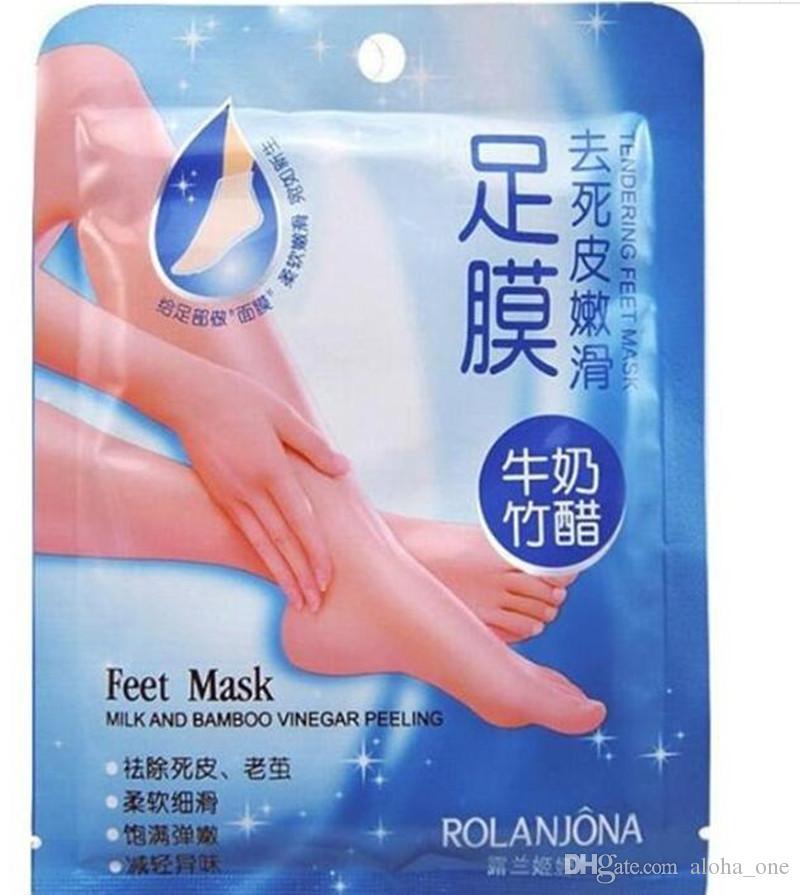 New Rolanjona Milk Bamboo Vinegar Feet Mask Peeling Exfoliating Dead Skin Remove Professional Feet sox Mask Foot Care