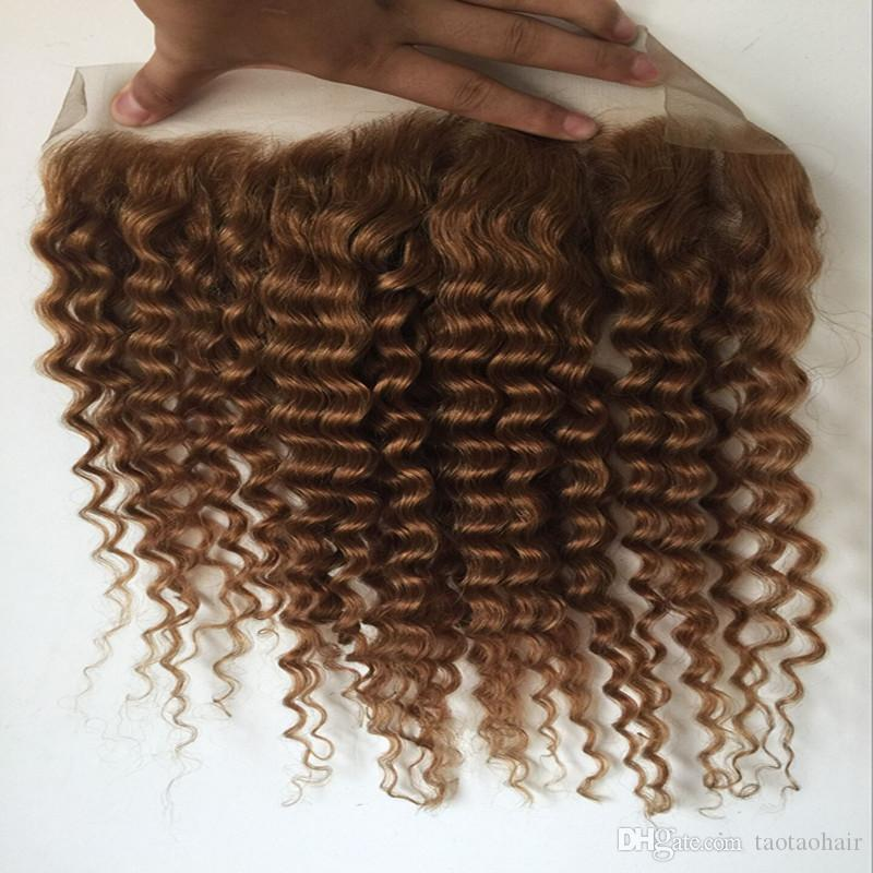 8a Brazilian Hair Lace Frontal 13x4 honey blond deep wave