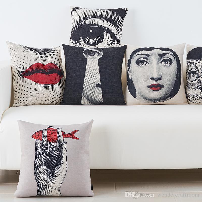 Dibujos de la cara de Piero Fornasetti de la vendimia europea Funda de cojín Labios rojos Ojos Funda de almohada Sofá decorativo Lino Cojines de algodón Almohadas Fundas