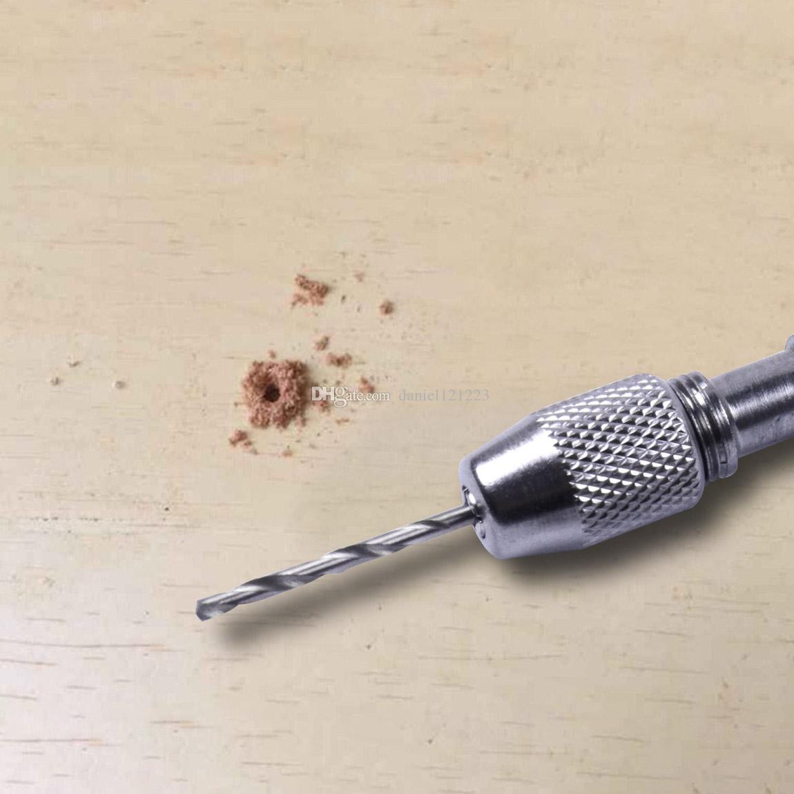 Semi-automatic Mini Hand Drill Chuck Micro Twist Hobby Craft Jewelers Hand Tool + 0.3-1.6mm Twist Drill Bits Set