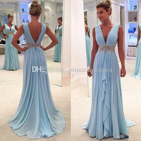 2017 Newest Sky Blue Bohemian Beach Prom Dresses Deep V-Neck Backless Chiffon Cheap Celebrity Party Dresses Evening Wear With Beaded Sash