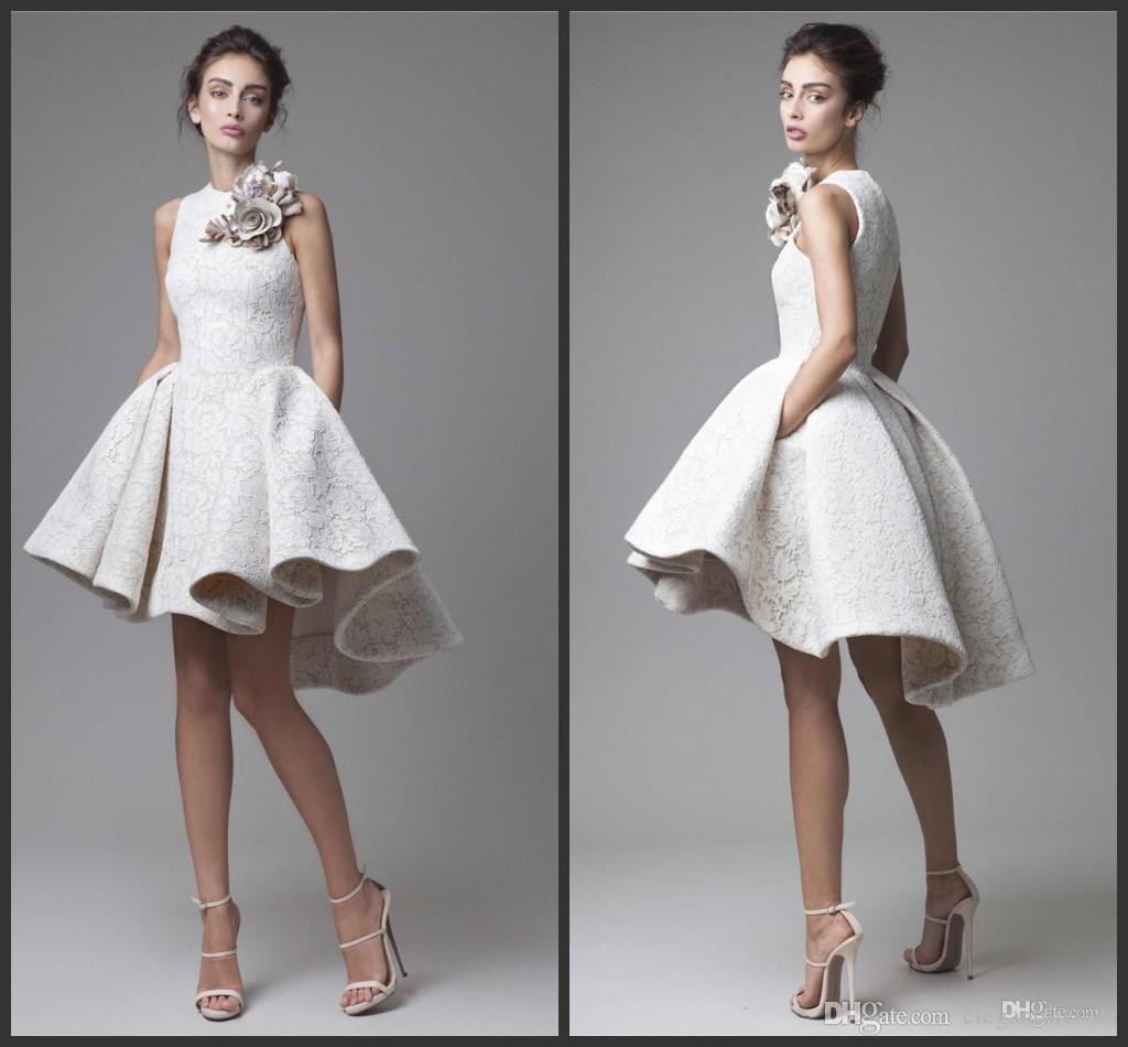 efa747fb4c47 2016 de encaje blanco corto vestidos de cóctel Juniors noche desgaste  elegante barato Hi Low Party vestidos de baile