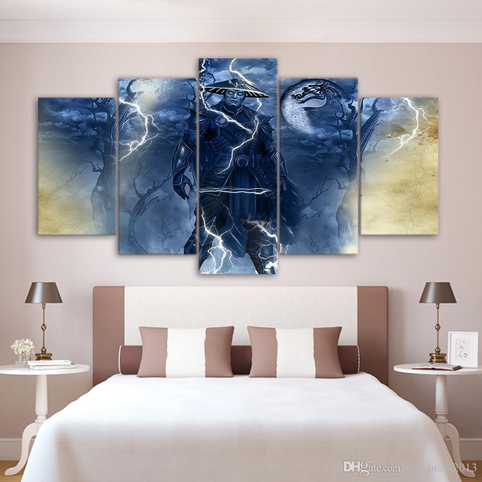 Framed HD Printed Raiden Mortal Kombat Game Picture Wall Art Canvas Print Room Decor Poster Modern Oil Painting