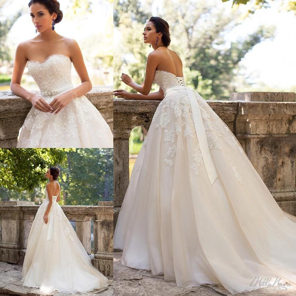 Discount 2018 Vintage Backless Wedding Dresses Sweetheart