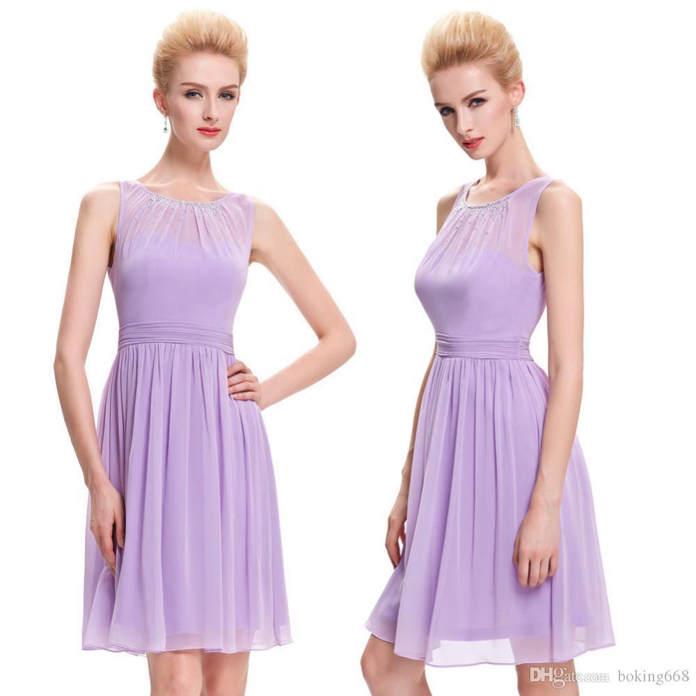Robes de bal lilas courtes 2019 longueur au genou en mousseline de soie perlée robe de soirée princesse robes de bal robes de soirée spéciales faites sur mesure
