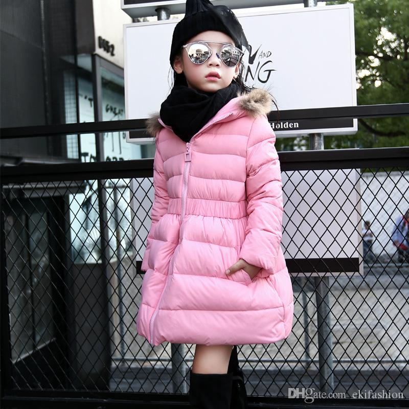 In Stock Girls Jackets & Coats New Fashion Hooded Thickening Of The Long Down jacket Hot Girl's Clothing Children Cotton Outwear Clothing