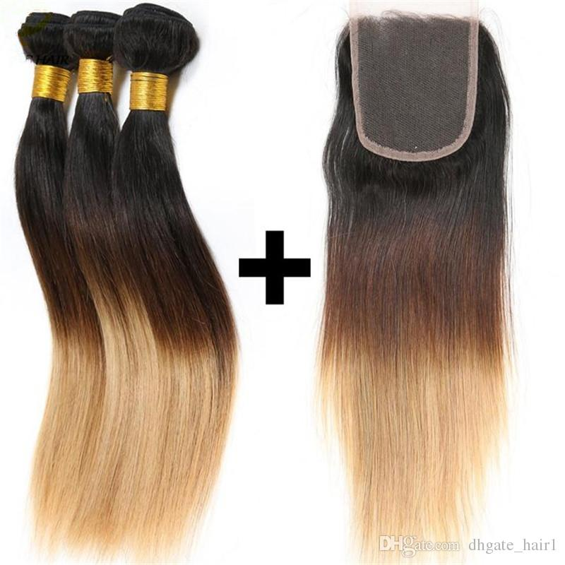 1B / 4/27 Miel Blonde Ombre Péruvienne Cheveux Humains 3Bundles Avec Dentelle Fermeture Vierge Péruvienne Droite Ombre Cheveux Avec Fermeture