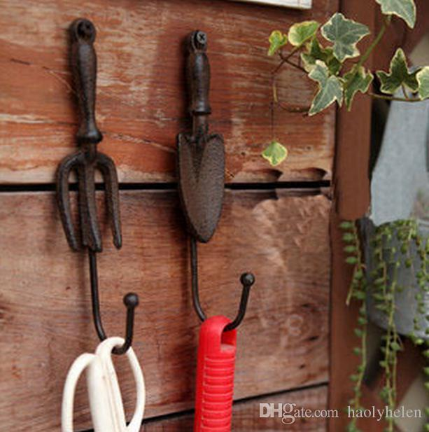 2 Sets/ 4 Pieces Cast Iron Wall Hook Spade Shovel And Fork Shape Vintage  Decorative Garden Hanger Hooks Rustic Art Free Shipping