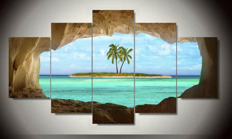 5 panel canvas seacape living rooms set Wall painting print on canvas for home decor ideas paints on wall pictures art F/1350d