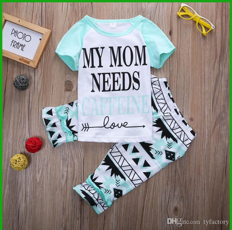 newest baby girls boys tracksuits beautiful design short sleeve three quarter pants letter geometric patterns children casual suits