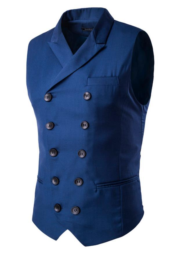 Sleeveless Vest Men Double Breasted Turn Down Collar Fake Pockets Design Solid Color Brief Slim Fit For Man Dress Vest Business Free Ship