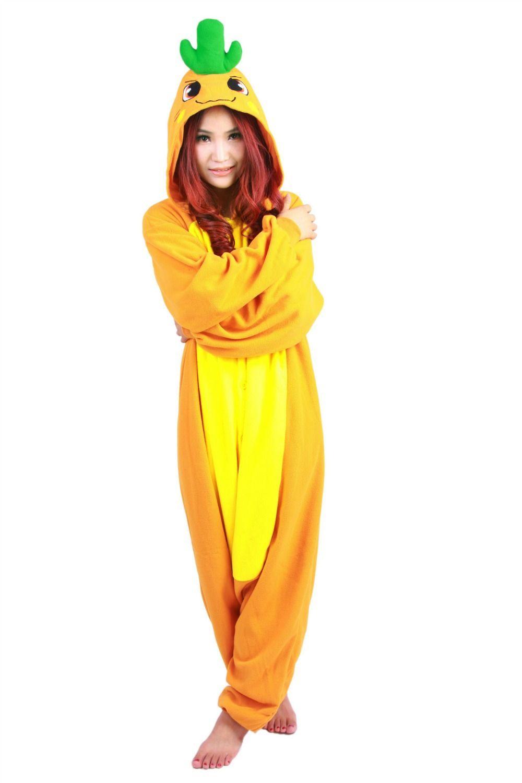 SS Invierno manga larga Amarillo naranja Anime Onesie Ropa de dormir Cosplay Traje de zanahoria Pijamas Adulto Fiesta de pijamas