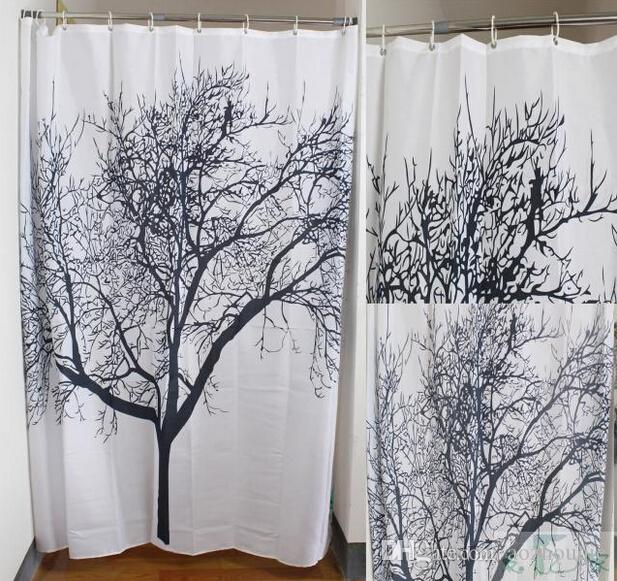 Online Cheap Black Scenery Tree Design Bathroom Waterproof New Arrive Retro  Minimalist Black White Colors Shower Curtains Fabric Shower Curtain By  Cedricl ...