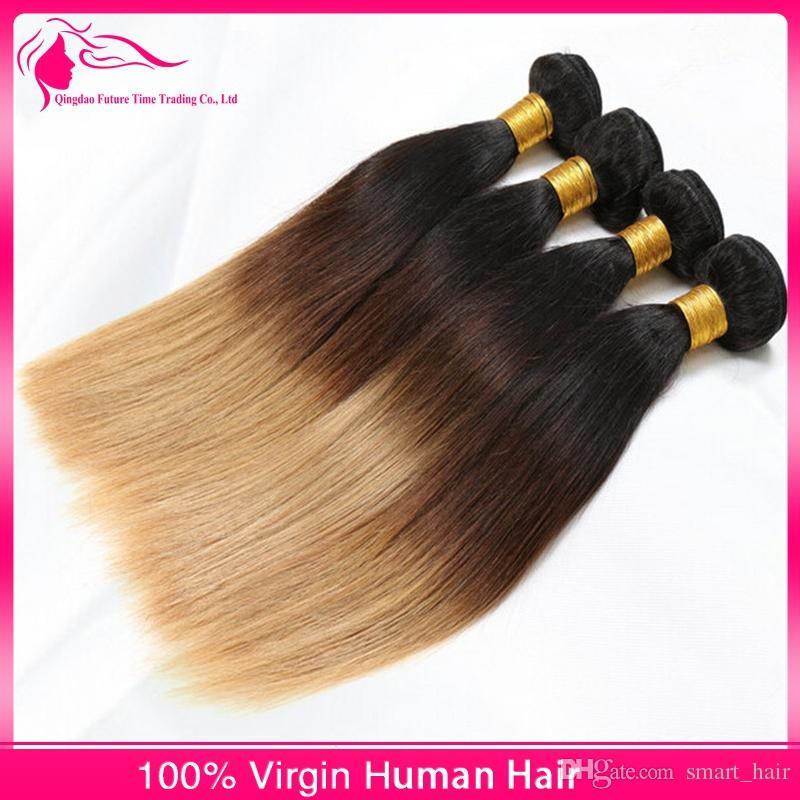 # 1B / 4/27 Ombre Cheveux Humains Bundles 9A Vierge Cheveux Raides Extensions / 3 Tons Cheveux Tisse