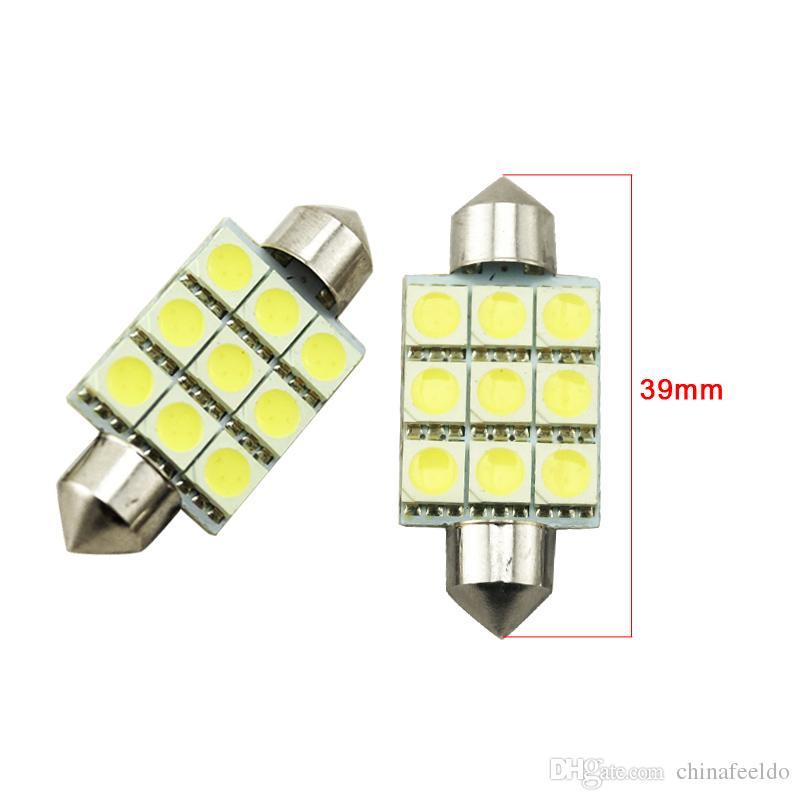 LEEWA bianco 36mm 39mm 41mm 9SMD 5050 luci LED auto Festoon Dome lampadine a LED Lettura a LED 12V # 2789