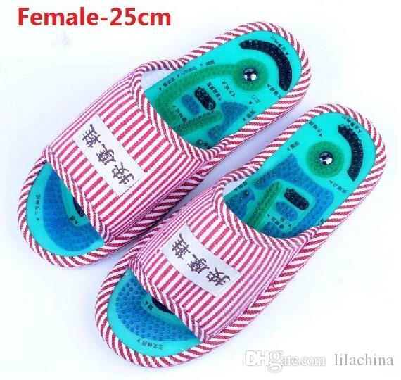 2016 New Sale Foot Acupoint Massage Shoes Foot Health Care Magnet Therapy Slippers Striped Pattern Indoor Shoes For Women & Men