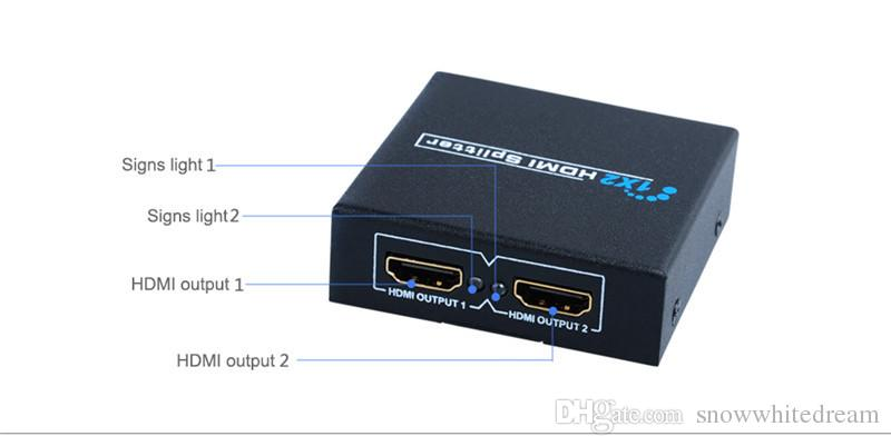 HDMI Splitter 2 Port 1x2 HDMI Switch 1 In 2 Out Switcher Support HDTV 1080P With Power Cable For Audio Video DVD