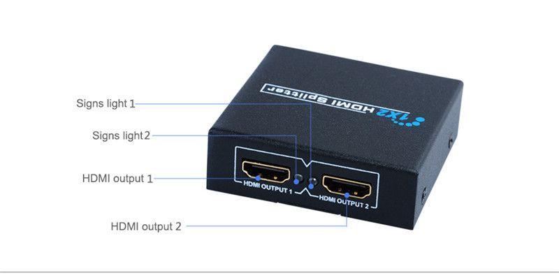 HDMI Splitter 2 puertos 1x2 HDMI Switch 1 In 2 Out Switcher, soporte HDTV 1080P con cable de alimentación para audio, video y DVD