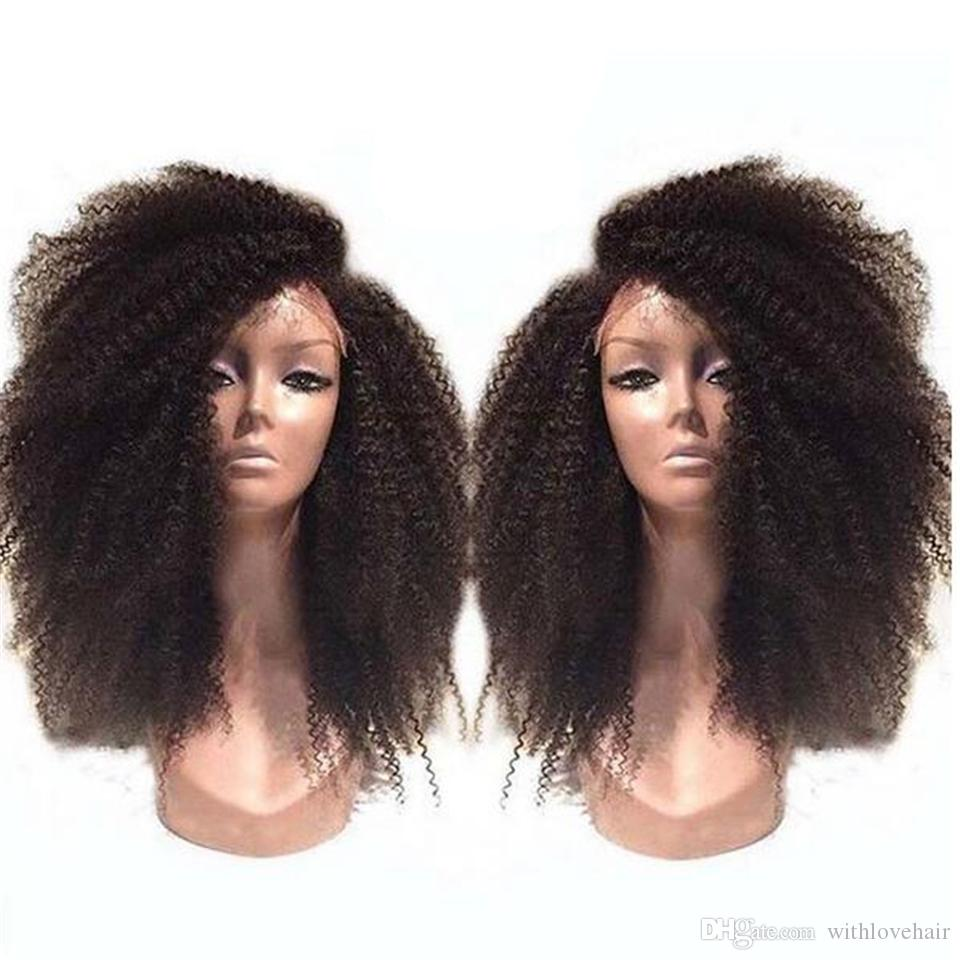 300 Density 8A virgin Hair Kinky Curl Lace Front Wig Glueless Full Lace Human Hair Wigs With Remy Peruvian Hair