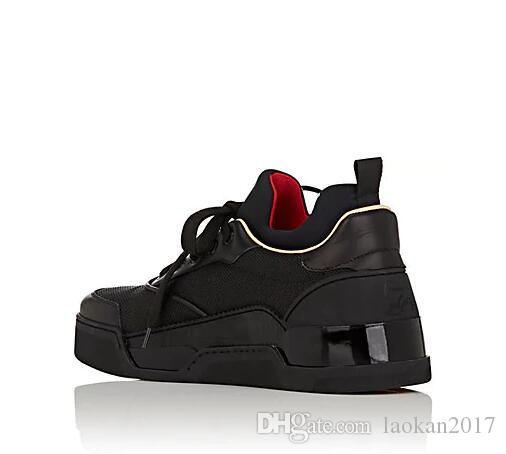 2017 neue Schwarz Aurelien Flache Turnschuhe Herren Turnschuhe Red Bottom Schuhe Männer Doppel Farbe Nieten Low top Qualität Großhandel
