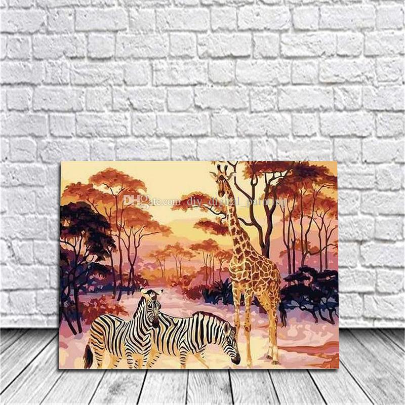 Diy Malen Nach Zahlen Kits Acrylfarbe Giraffe Auf Leinwand Handgemalte ölgemälde Für Wandkunst Arbeit Für Wohnzimmer Decor