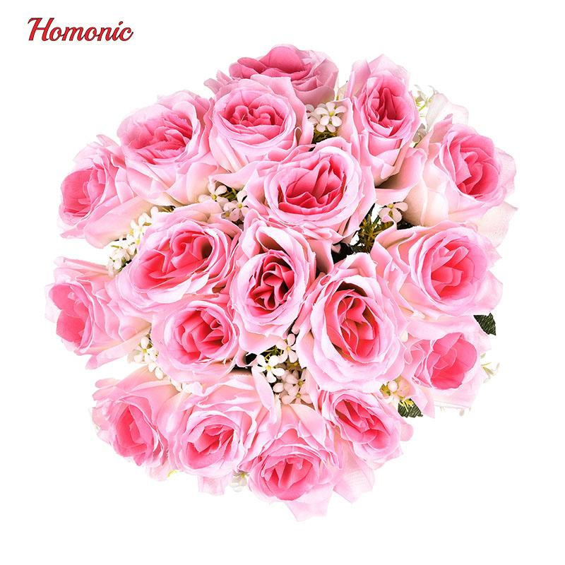 Wholesale 18 Head Rose Silk Artificial Flower Bridesmaids Flowers ...