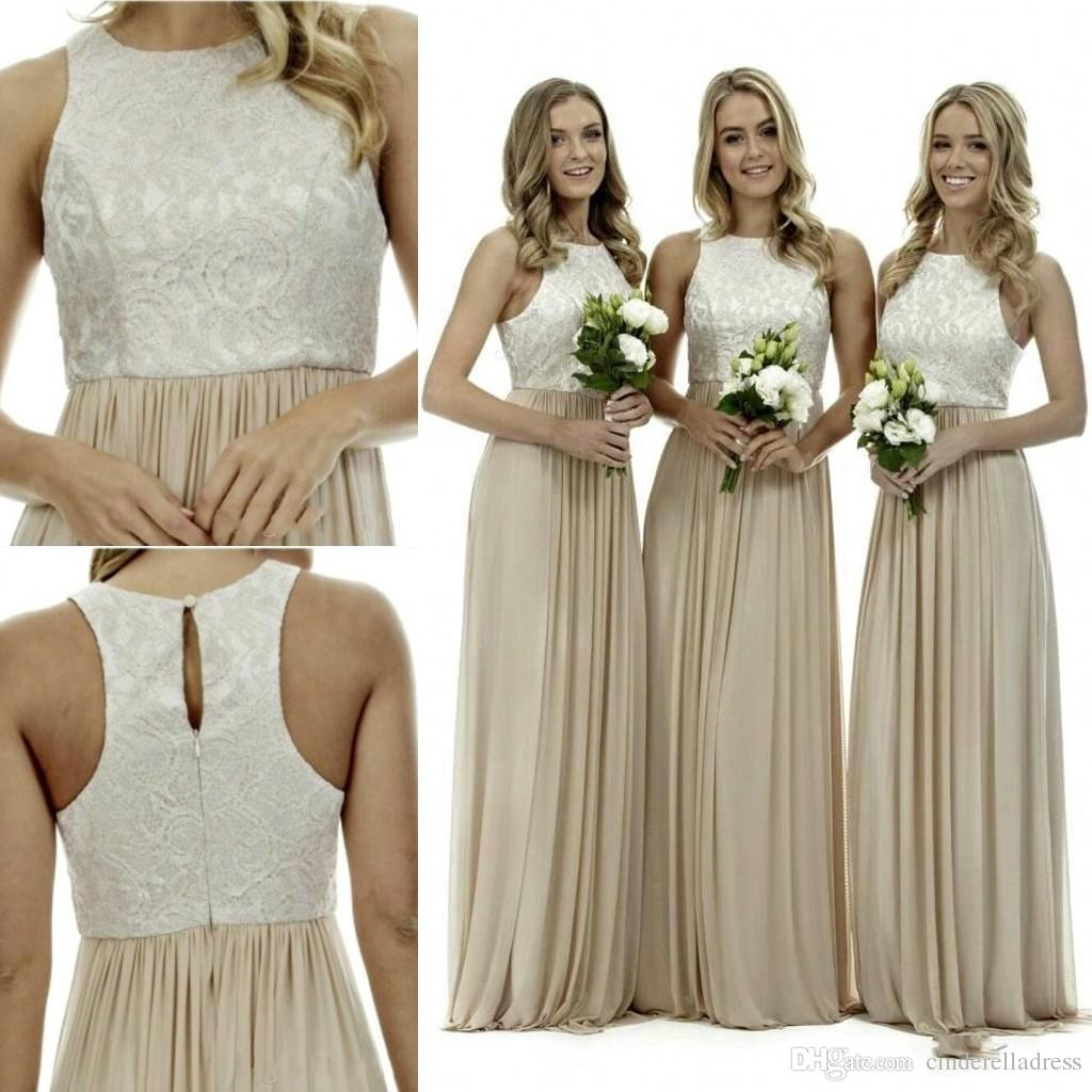 New cream halter lace bridesmaid dresses a line champagne for Cream colored lace wedding dresses