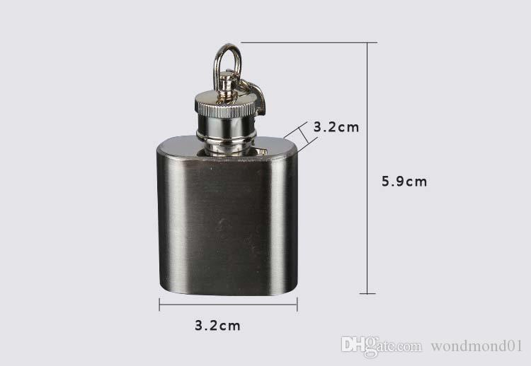 Hip Flasks 1oz Mini Portable 304 Stainless Steel Hip Flask Alcohol Flagon Wine Bottle with Keychain In Stock Wholesale
