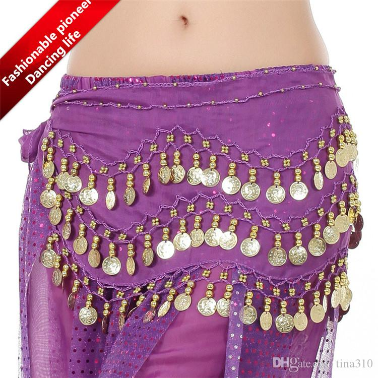 100 unids Vendedor de DHgate VIP es 3 Filas 128 Monedas de Oro Belly Egypt Dance Hip Faldas Bufanda Wrap Belt Costume 2891