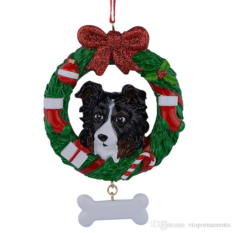 Shepherd Wreath Resin Crafts Shiny Christmas Ornaments Hand Painted Easily Personalized as for Pug Owners gifts or home decor