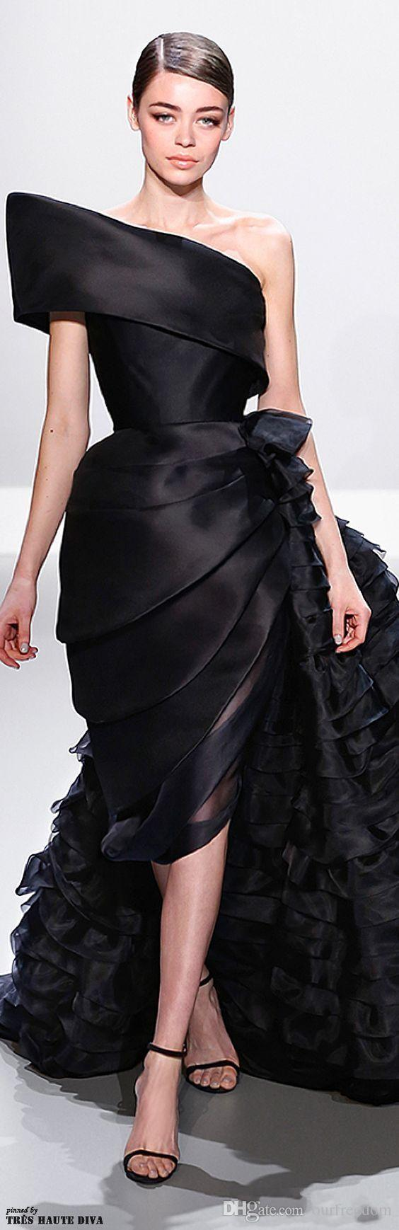 2019 Ralph&Russo Black Ruffle Runway Fashion Evening Dresses One Shoulder Pleats Chapel Train Custom Made Celebrity Prom Gowns Plus Size