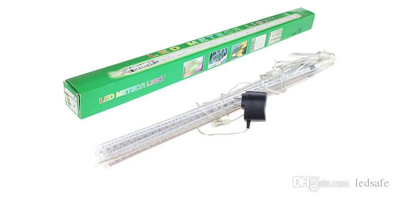 Xmas LED Meteor Shower Rain Tubes Light 30cm 50cm 8 Tube 100~240V EU US Plug Christmas Holiday String Light Raindrop Lamp + Power Adapter