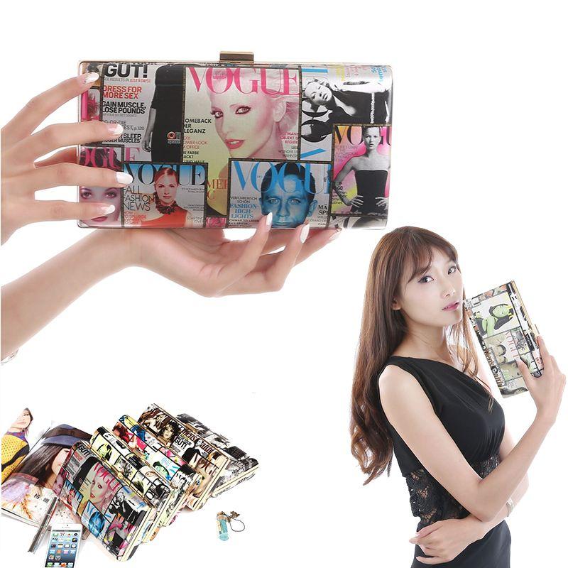 Projetado Jornal Caráter Impresso Revista Bag Elegante Mulheres Embreagem Bag Papa Bolsa Bolsa Pop Cool Brand Satchel Evening Bag - M1261
